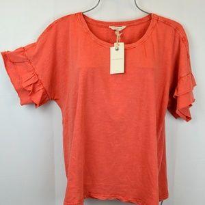 Lucky Brand Orange Coral Ruffle Sleeve Top